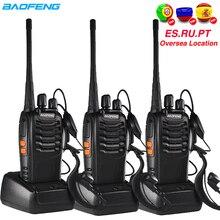 3 uds Baofeng BF 888S Walkie Talkie BF 888s jamón auriculares de Radio 5W 400 470MHz FM transceptor de Radio de dos Comunicador