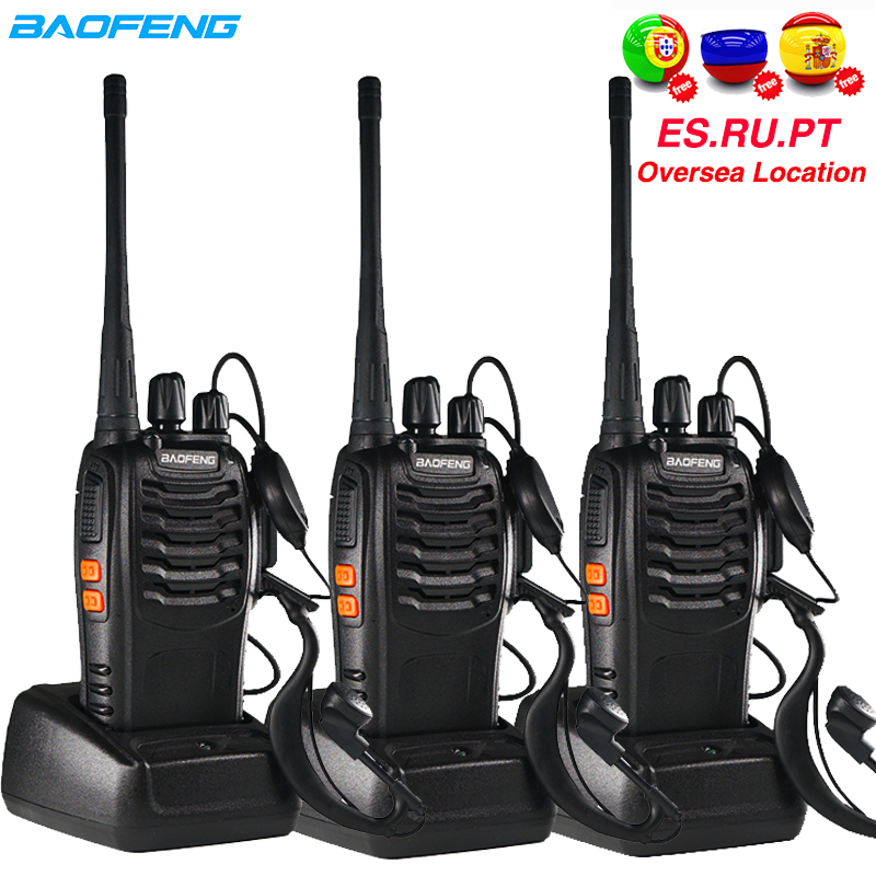 3pcs Baofeng BF-888S Walkie Talkie BF 888s Ham Radio Earpieces 5W 400-470MHz UHF FM Transceiver Two-Way Radio Comunicador