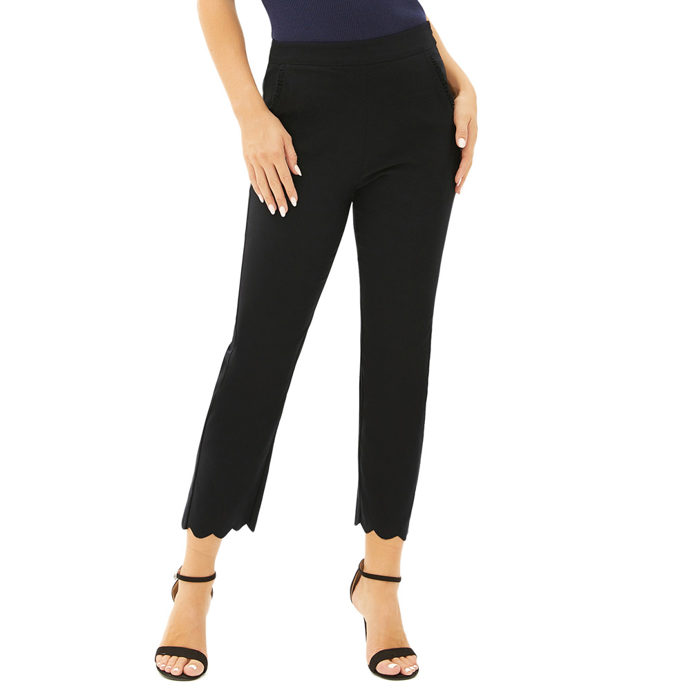 Women Cropped OL office   Pants   Straight trousers spring fall formal   Capri   Solid Color Comfy Stretchy Scalloped leg openings   pants