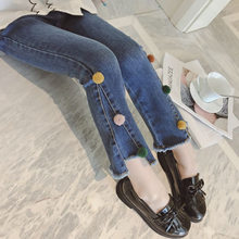 Girls Jeans Kids Fashion Irregular Pattern Blue Spring Autumn High Quality Children Pants Casual Trouses Baby