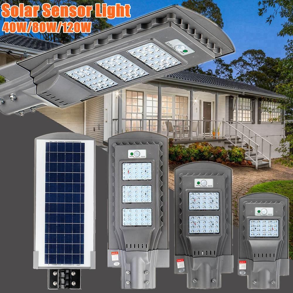 AUGIENB 21000LM 40 W/80 W/120 W réverbère solaire 20/40/60 LED éclairage extérieur lampe de sécurité capteur de mouvement/IPX6