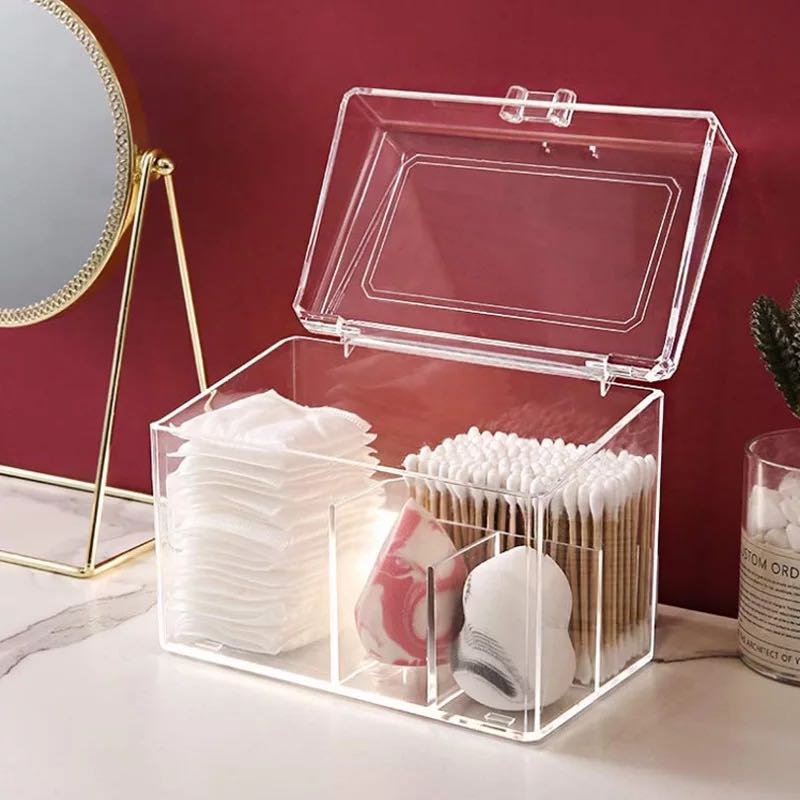 Dustproof Acrylic Cotton Pads Organizer Makeup Storage Box For Swab/Beauty Blender Holder With Lid 4 Lattices Cosmetic Container