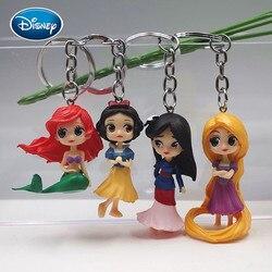 Disney 4 шт. комплект наряда принцессы игрушка кукла брелок мини пластик Маленькая Принцесса Русалочка куклы брелок-Подвеска Аксессуары подар...