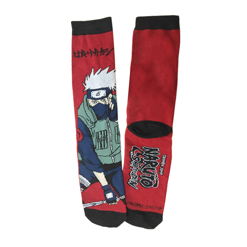 Cartoon Naruto Hatake Kakashi Cotton Men's Socks Hip Hop Cool Funny Naruto Uzumaki Crew Sock For Women