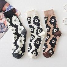Floral curto esporte meias macio respirável arte algodão meias mulher harajuku japonês midi-tubo sokken alta qualidade skarpetki mujer