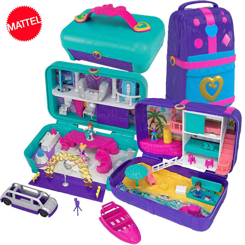 Original Mattel Polly Pocket Mini Polly Big Million World Treasure Box Luxury Car Travel Suit FRY39 Girls Toys Big Pocket World