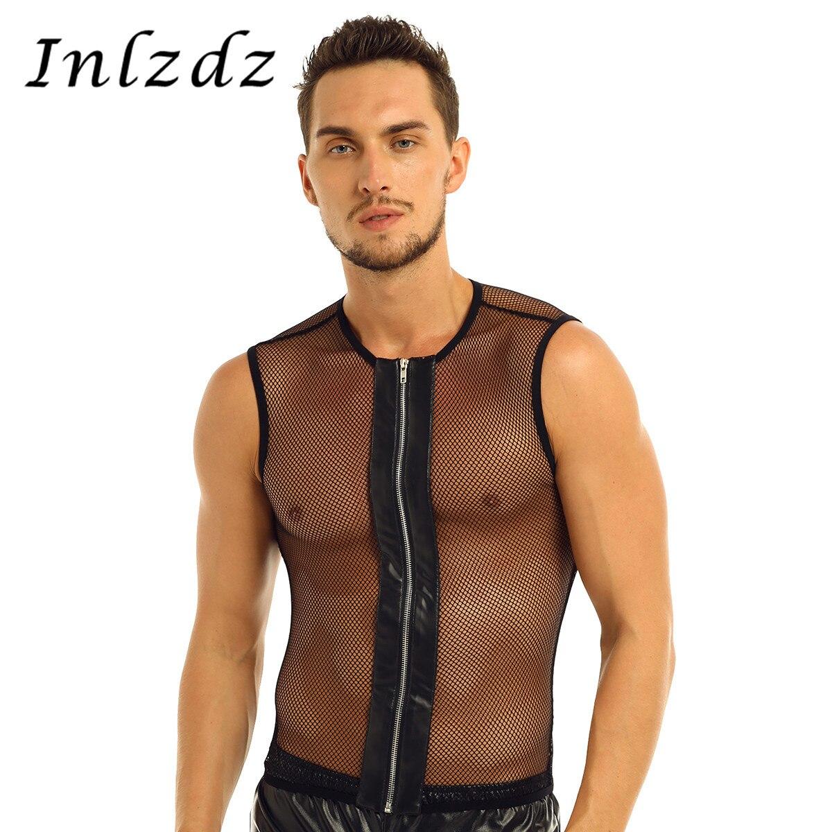 Harness Mens Lingerie Mesh Tank See-through Sex Homme T-Shirts Mesh Fishnet Zipper Muscle Transparent Body Suit Tank Top T-Shirt