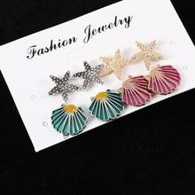 2019 Earrings Pendientes Temperament Popular Suit Ear Nails Symmetrical Starfish Shell Drops Coloured Manufacturers Wholesale