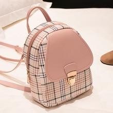 цена на Small Bag 2020 Korean Fashion Backpack Laptop Shoulder Shoulder Bag Contrast Mobile Phone Bag Pu Plaid Shoulder Bag
