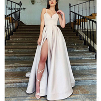 Champagne Prom Dresses 2020 Sweetheart A Line Satin High Slit Evening Party Dress With Pockets Long Prom Gown vestidos de gala