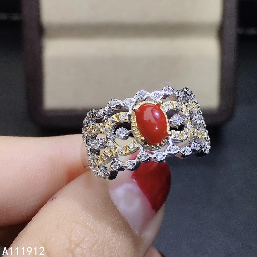 KJJEAXCMY fine jewelry natural red coral 925 sterling silver new women gemstone ring support test beautiful