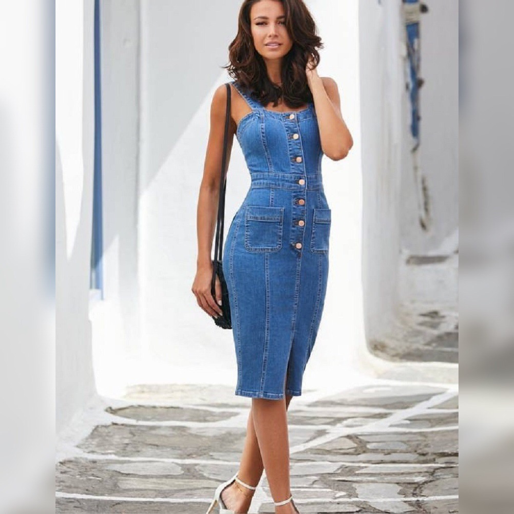 BacklakeGirls 2020 Summer Jeans Spaghetti Strap Long Evening Dress Black Blue Women Casual Dress Robe Sexy