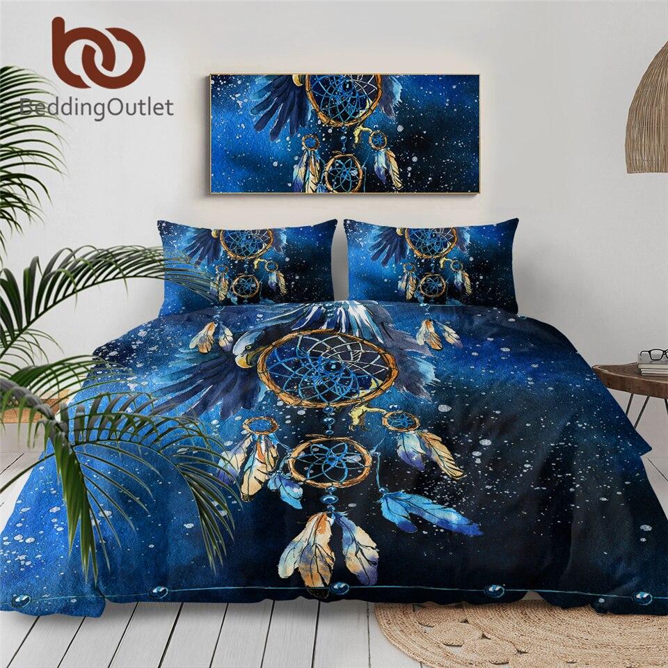 BeddingOutlet Dreamcatcher Bedding Set Queen Size Feather Blue Printed Duvet Cover Boho Bedclothes 3pcs Bald Eagle Home Textiles