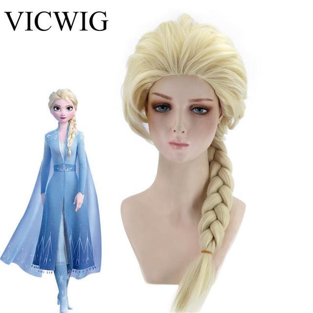 VICWIG קוספליי פאות 26 אינץ זהב קוקו סינטטי צמת שיער לנשים גריי פאה עמיד בחום עלה נטו