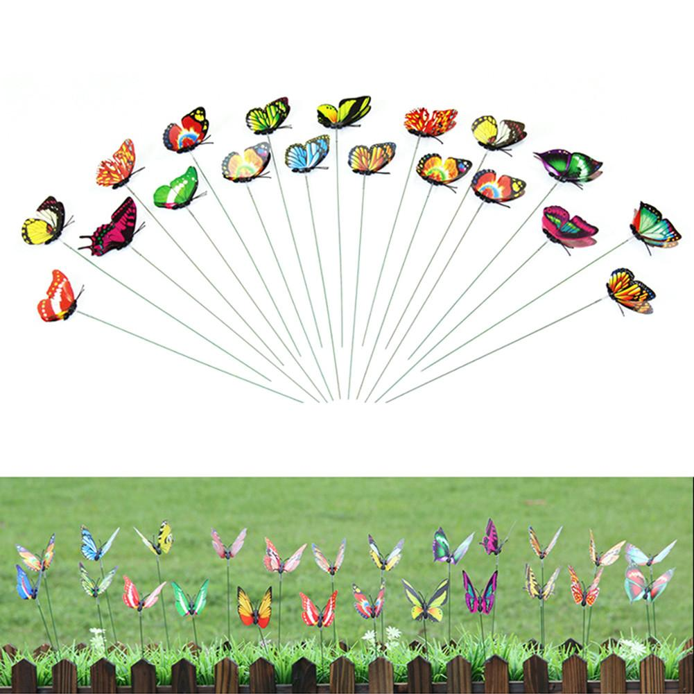 10pcs/pack 3D Colorful Butterfly Decorative On Sticks Home Yard Lawn Flowerpot Plant Decoration Garden Ornament DIY Lawn Craft