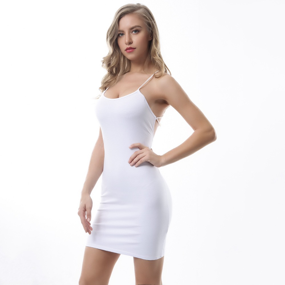 Sexy Black Summer Clothes Women Solid Color Backless Spaghetti Straps Nightclub Dress Bodycon Evening Party Low Neck Mini Dress 5