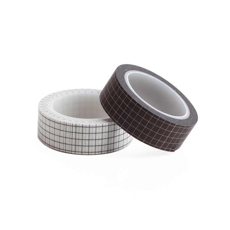 1 Buah Hitam dan Putih Grid Washi Tape Kertas Jepang DIY Perencana Masking Tape Perekat Stiker Dekoratif Stationery Tape