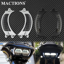 Motorcycle LED Side Marker Turn Signal Light Blinker Black/Chrome For Harley Touring Road Glide FLTRX 2015 2016 2017 2018 2019