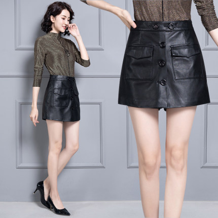 2020 Women New Real Genuine Sheep Leather Shorts KS69