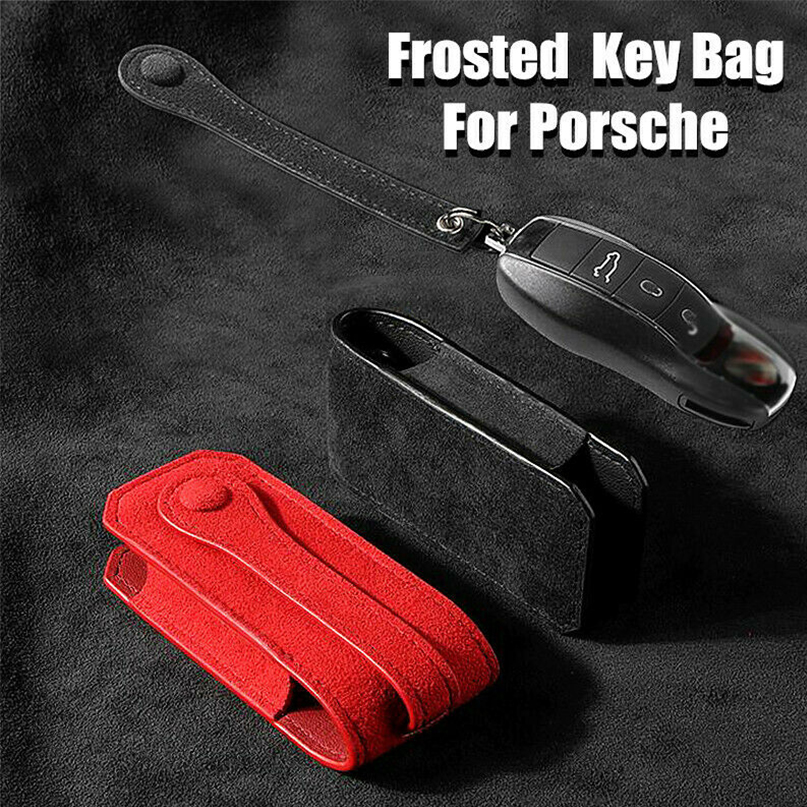 Frosted Leather Car Auto High-grade Key Cover Case Holder Key Chain For Porsche title=