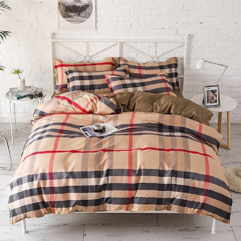 Luxury Grid Bedding Sets 3 4pcs Geometric Pattern Fashion Bed Linings Duvet Cover Bed Sheet Pillowcases Cover Bedding Set in Bedding Sets from Home Garden