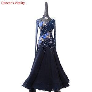 Image 4 - 女性ワルツダンス着用裾刺繍ダイヤモンドスプライシングドレス社交国家標準ジャズ、モダンダンスステージ衣装