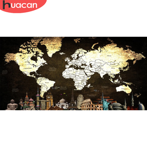 HUACAN DIY Diamond Painting Map Scenery Embroidery Landscape Mosaic Needlework New Arrival Home Decor