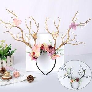 Women Girls Christmas Fairy Tale Flower Headband Retro Tree Branch Deer Ears Antler Hair Hoop Crown Festival Party Props 2020(China)