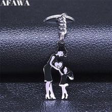 2021 moda mãe e filha amor aço inoxidável chaveiro para mulher cor prata chaveiros jóias llaveros mujer n537s01