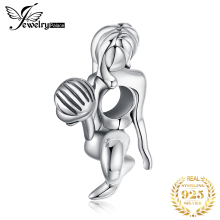 JewelryPalace 925 Sterling Silver Mermaid Sculpture Charm Beads Plain Vintage Holding Shell Beaded Girl Gift