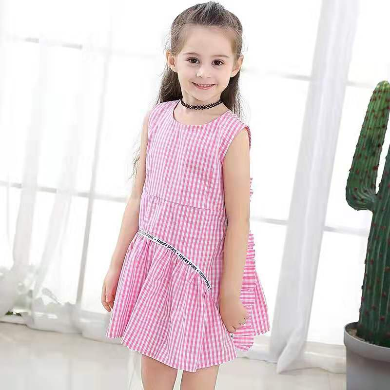 New Girls Flower in Black Pink Dots Summer Party Dress From 4-5 5-6 6-7 Years
