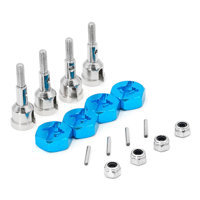 <font><b>Wheel</b></font> Conversion Set Axle & 12Mm Hex Dive Hub Turn <font><b>1</b></font>/10 on Road for WLtoys <font><b>1</b></font>/<font><b>18</b></font> A959 A969 A979 A959B A969-B <font><b>RC</b></font> Car Upgrade Parts image