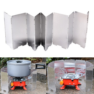 9 Plates Strong Wind Shield Deflector Folding Windscreen Guard Outdoor Camping Barbecue Picnic Stove Burner Furnace Protection