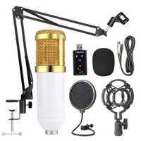 Kit de micrófono de suspensión profesional Bm800, conjunto de micrófono condensador de grabación de radiodifusión en vivo para estudio (blanco + Oro)