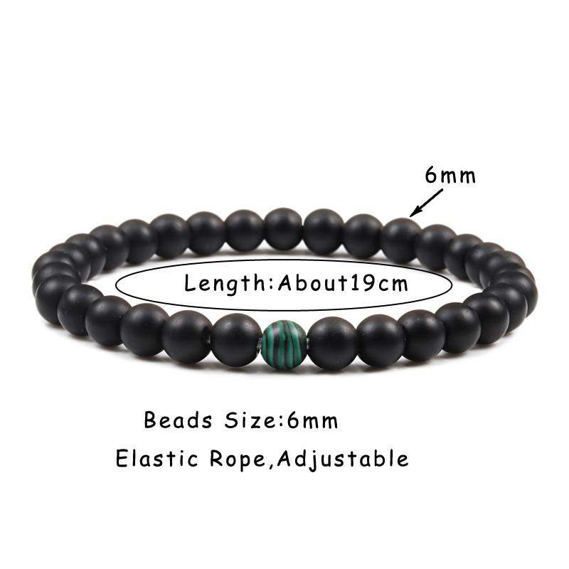 Couples Distance Beads Bracelet Classic Black Matte Green Malachite Bracelets Suitable Women Men Yoga Elastic Strand Jewelry