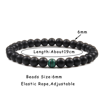 Couples Distance Beads Bracelet Classic Black Matte Green Malachite Bracelets Suitable Women Men Yoga Elastic Strand Jewelry 5