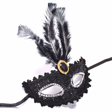 5pcs/lot Venetian Style Lace Crystal Rhinestones Cosplay Mask for Halloween /Masquerade /Costume Fringed Feather