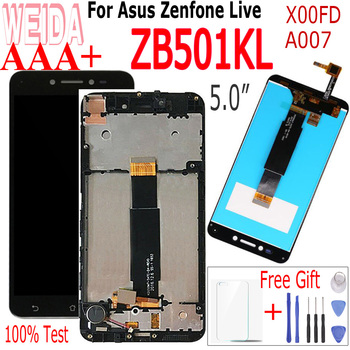 WEIDA 5.0 For Asus ZenFone Live ZB501KL X00FD A007 LCD screen display with Frame touch panel digitizer for Asus ZB501KL LCD weida for asus zenfone 2 laser ze500kl z00ed lcd display touch screen digitizer assembly 5 0 inch with frame tool