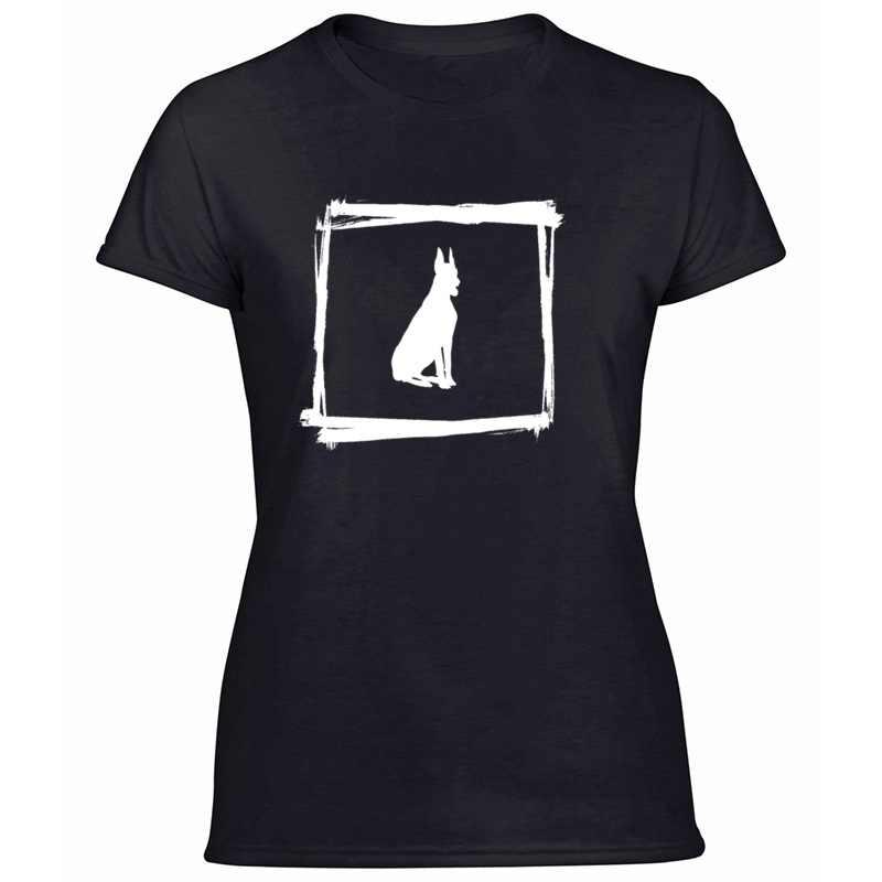 Estampado Doggy Doberman Pinscher perro cachorro camiseta hombres traje mujeres camisetas ocio de manga corta