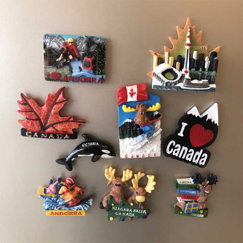 3d Fridge Magnets Toronto Canada Souvenir Resin Fridge Magnet Refrigerator Sticker Decoration Tourist Attractions Craft Gift