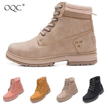 Купить с кэшбэком OQC New Winter Women Ankle Snow Boot Wedges Warm Grip Sole Hiking Combat Boot Lace-up Sexy Punk Ladies Ankle Motorcycle Boot D25