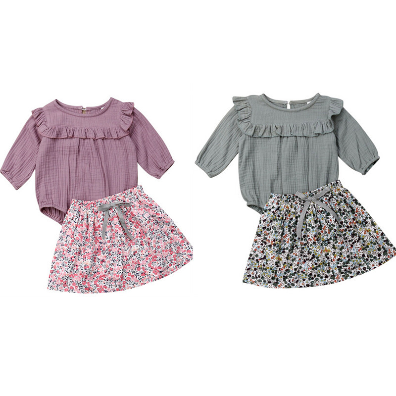 2019 Newest Style Toddler Baby Girl 2pcs Long Sleeve Bodysuit Skirt Adorable Clothes Set 3-12Months Spring Summer Autumn