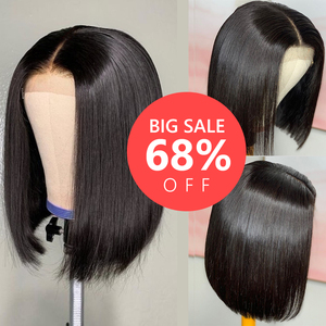 Big discount Short Human Hair Wigs Straight 4X4 Lace Frontal Wig Bob Lace Front Wigs Brazilian Lace Front Human Hair Wigs(China)