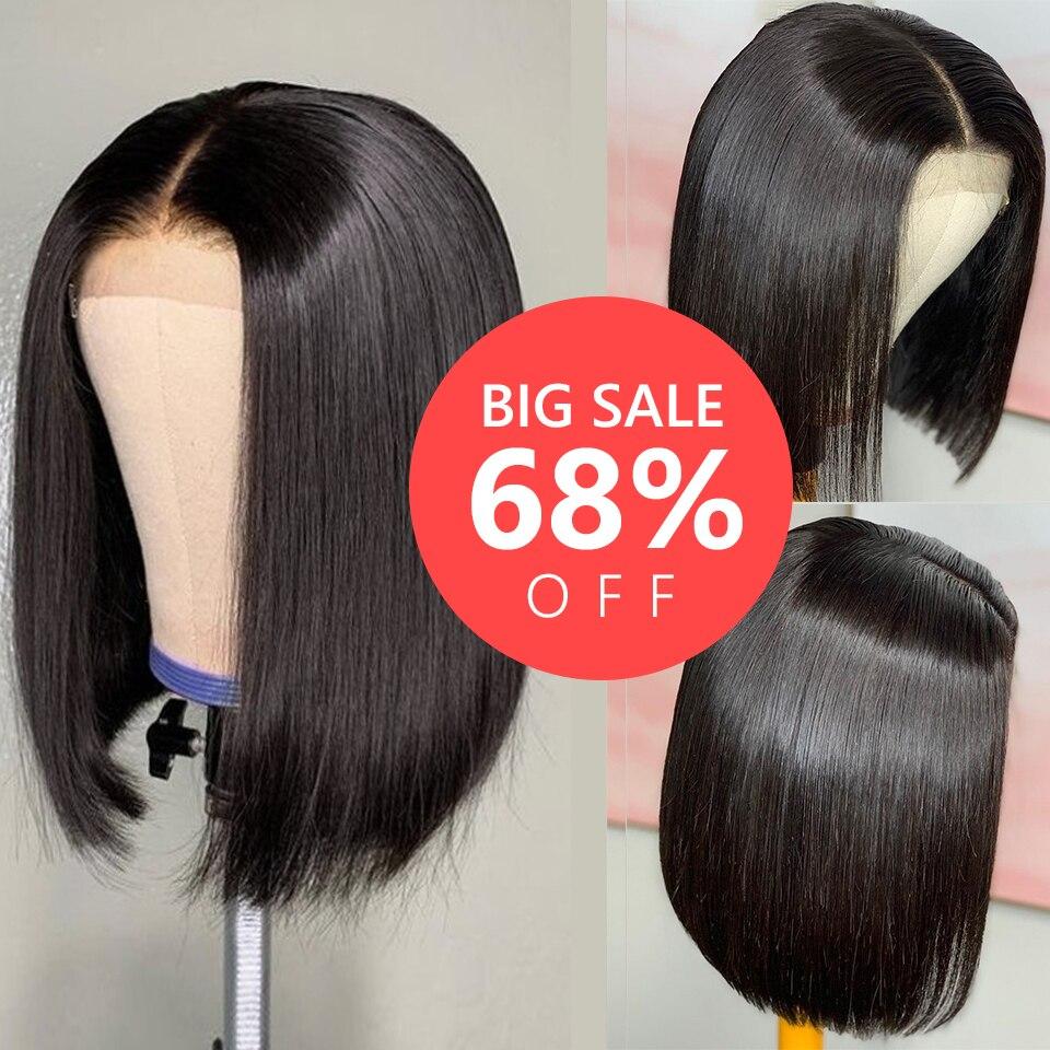Grande desconto perucas de cabelo humano curto 4x4 peruca frontal do laço em linha reta bob perucas de frente do laço brasileiro perucas de cabelo humano