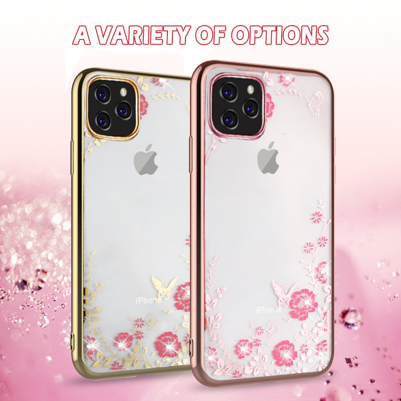 MOESOE Glitter Diamond Flower Case for iPhone 11/11 Pro/11 Pro Max 25