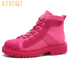 AIYUQI Women Real Leather Boots Martin 2019 Autumn New Sexy Ankle Canvas Motorcycle Ladies