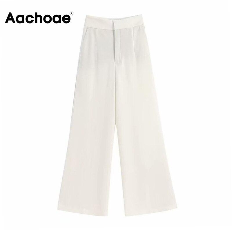Aachoae Women Wide Leg Pants High Waist Office White Pants Pleated Loose Long Trousers Lady Zipper Fly Work Wear Bottoms Spodnie