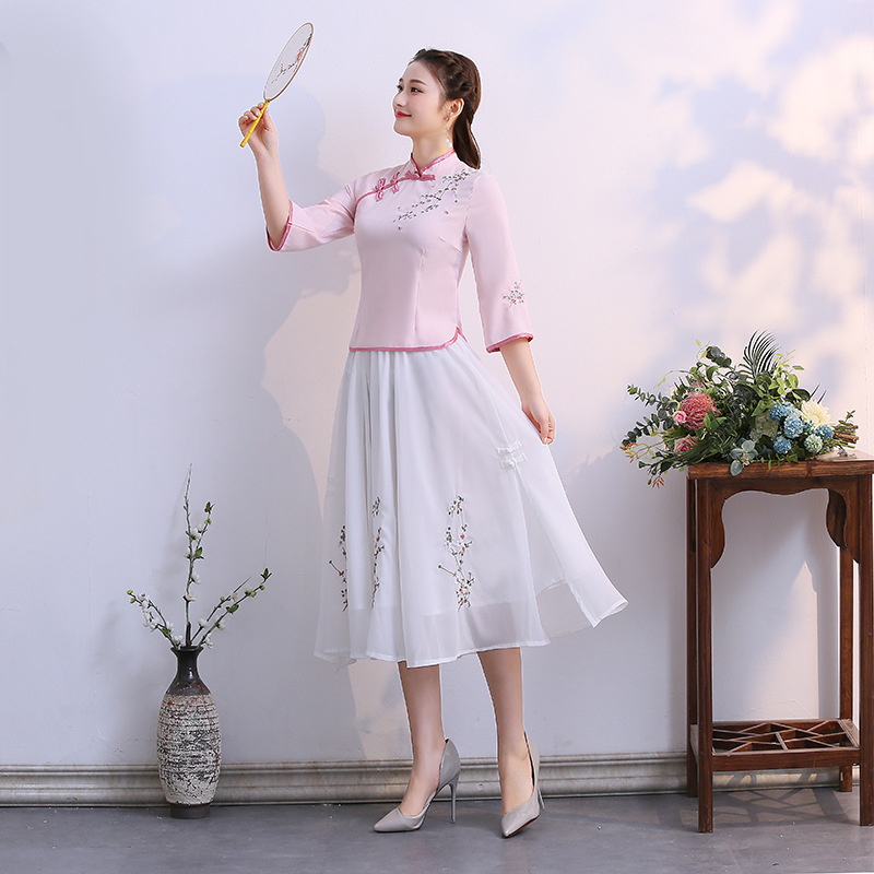 2019 New Style Fashion Slim Fit Cheongsam Tops Improved Chinese Costume Retro Chinese Style WOMEN'S Dress Stand Collar Three-qua