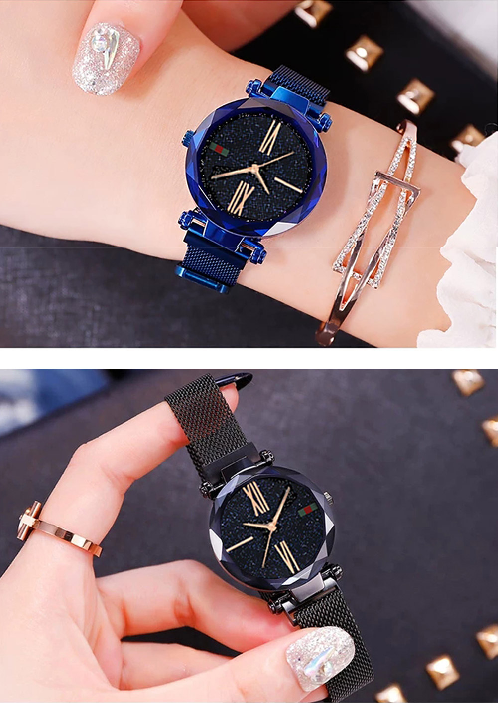 Luxury Minimalism Starry sky Magnet Rose Gold Women Watches 15