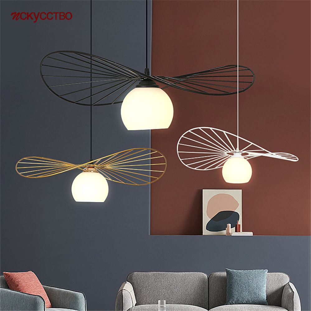 Nordic Designer Iron Net Ufo Industrial Pendant Lights Kitchen Decor Dining Table Suspension Luminaire Loft Led Glass Hang Lamp